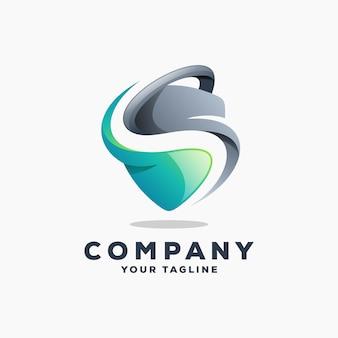 Escudo s logo diseño vectorial