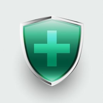 Escudo de salud de protección médica con signo de cruz