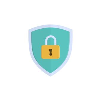 Escudo de seguridad con ilustración de vector de objeto de candado