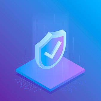Escudo de seguridad isométrica de internet, negocios. ilustración moderna