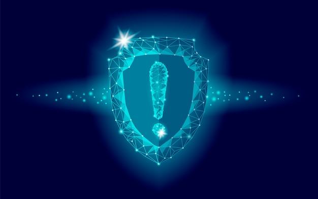 Escudo de seguridad de seguridad cibernética, bajo signo de exclamación poli, protector geométrico poligonal