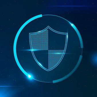 Escudo de seguridad tecnología de seguridad cibernética en tono azul.