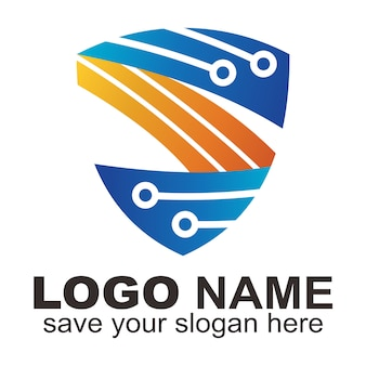 Escudo tecnológico con logotipo de la letra s