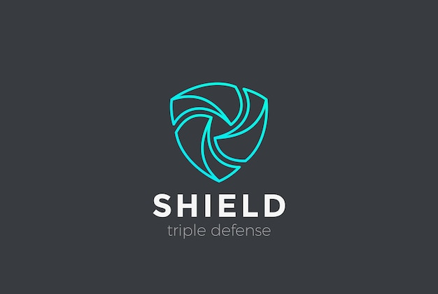 Escudo el trabajo en equipo protege el logotipo de defensa. estilo lineal.