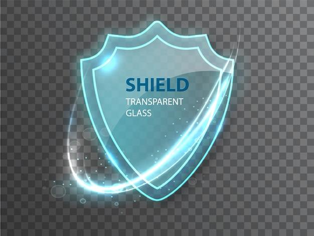 Escudo transparente de vidrio.