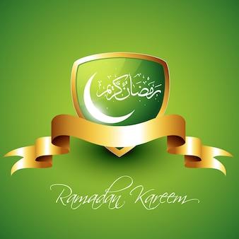 Escudo verde para ramadán kareem