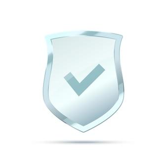 Escudo de vidrio transparente aislado en protección de escudo de fondo gris