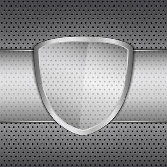 Escudo de vidrio transparente sobre fondo de metal,