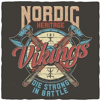 Escudo vikingo y hachas