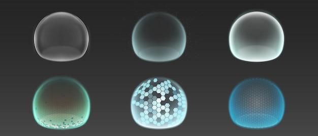 Escudos de burbujas, campos de fuerza de protección.