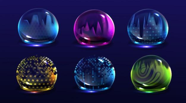 Escudos de burbujas rotos, campos de fuerza de protección dañados. conjunto realista de barrera de energía de seguridad agrietada, esferas brillantes con fractura. concepto de defensa rota
