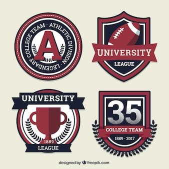 Escudos deportivos para los equipos de estudiantes