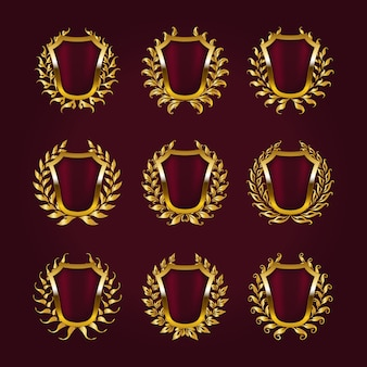 Escudos dorados con corona de laurel.