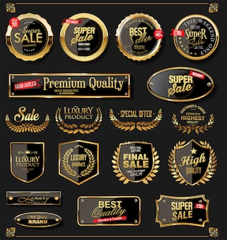 Escudos dorados laurel coronas y distintivos de colección.