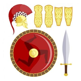 Escudos griegos, espada y armadura