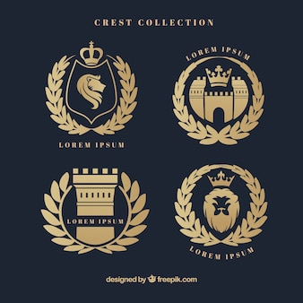 Escudos heráldicos elegantes con corona de laurel