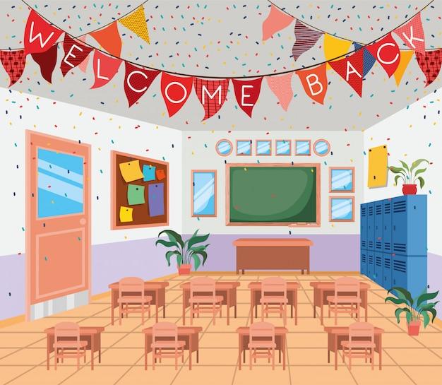 Escuela de aula con escena de pizarra