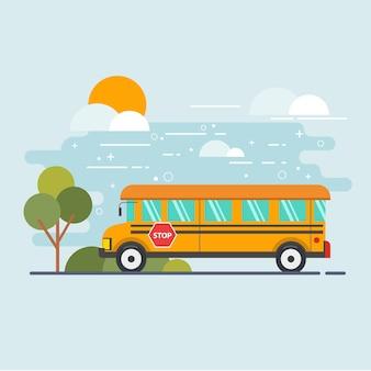 Escuela de autobús para estudiantes en el día de la mañana