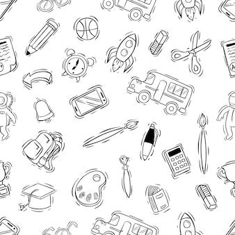 Escuela blanco y negro suministra iconos en patrones sin fisuras