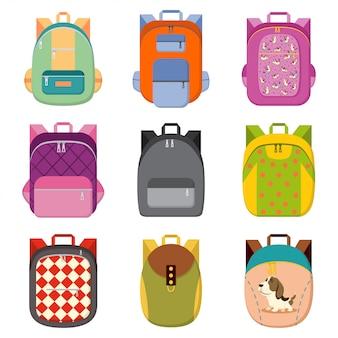 Escuela, colegio, mochila turística conjunto blanco aislado.