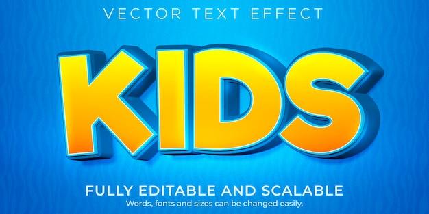 Escuela editable de efecto de texto de dibujos animados para niños y estilo de texto cómico