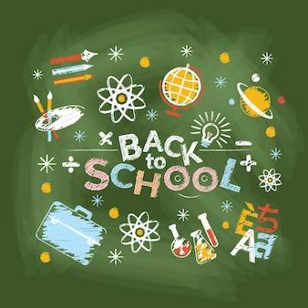 Escuela, educación, estilo de dibujo de tiza de título