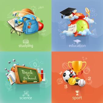 Escuela y educación, imágenes prediseñadas vectoriales, cuatro conceptos