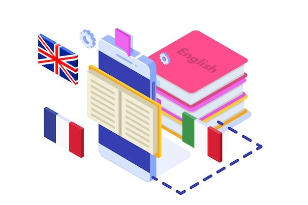 Escuela de idiomas, aprendizaje online. traductor isométrico.