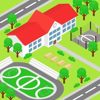 Escuela isométrica y gran patio verde.