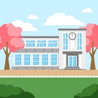 Escuela japonesa de diseño plano con hojas de sakura rosa