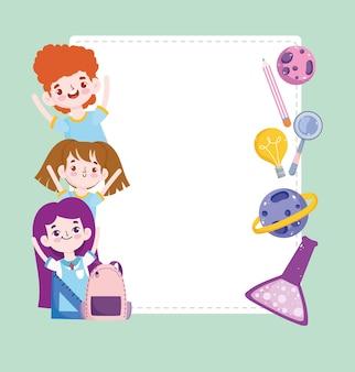 Escuela linda estudiantes ciencia tubo de ensayo planeta lápiz dibujos animados banner ilustración