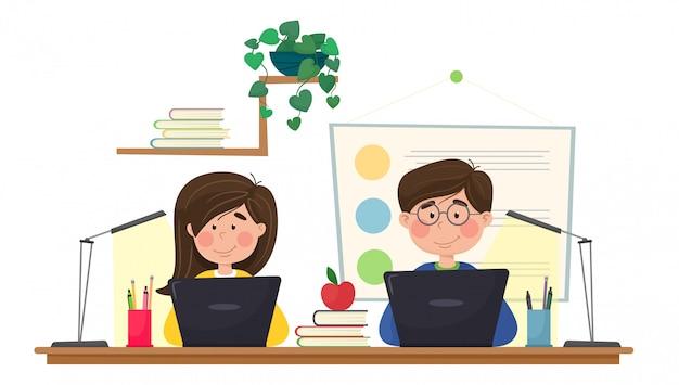 Escuela en línea. enseñar a los niños lecciones en línea. el niño y la niña participan en lecciones de forma remota. ilustración en estilo plano de dibujos animados.