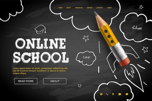 Escuela en linea. tutoriales y cursos digitales en internet, educación en línea, e-learning. plantilla de banner web para sitio web, página de inicio. estilo garabato
