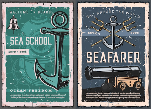 Escuela de mar, carteles vintage náuticos marinos