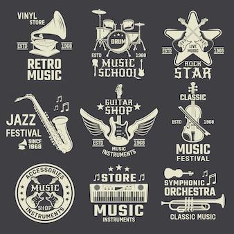 Escuela de música y tiendas emblemas monocromos