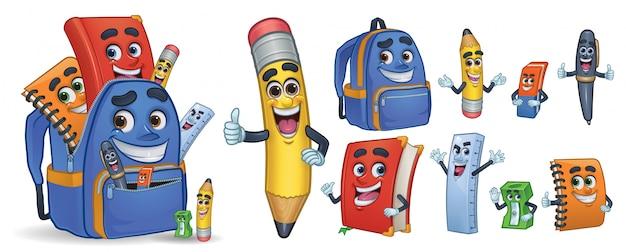 Escuela de personaje de dibujos animados papeleria