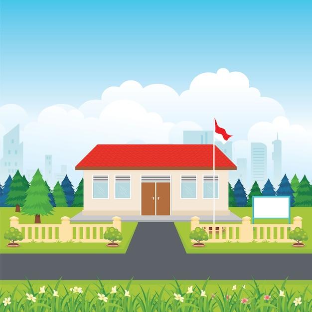Escuela primaria de indonesia con patio verde y fondo de paisaje natural