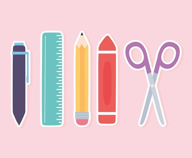 Escuela regla lápiz tijeras crayón pluma suministros iconos
