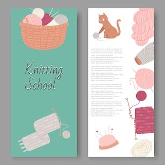La escuela de tejer y las manualidades establecen pancartas. bolas de lana, artículos de punto herramientas para tejer bufanda de lana