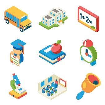 Escuela, universidad y educación iconos planos 3d isométricos. autobús y edificio y microscopio, diploma y campana, libro y manzana,