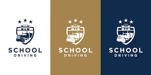 Las escuelas aprenden a conducir la ilustración del diseño del logotipo.