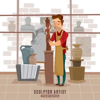 Escultor, artista, en el trabajo, ilustración