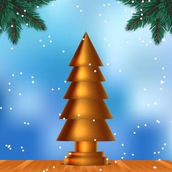Escultura de oro árbol de navidad. diseño elegante y de lujo de belleza en la madera con fondo de cielo azul y copo de nieve. decoración de guirnalda de hojas de abeto. celebración de navidad