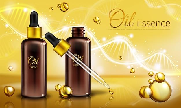 Esencia de aceite en botellas de vidrio marrón con pipeta y líquido amarillo en gotitas, manchas.