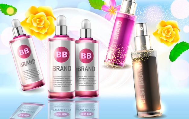 Esencia contenida, anuncios, plantilla de botella de vidrio. diseño de producto cosmético. ilustración para cremas, sopas, espumas, lociones.