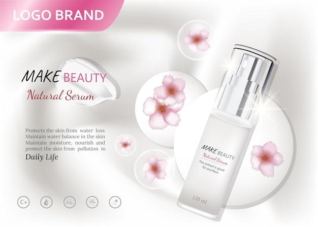Esencia cosmética contenida en una plantilla de botella de gotitas para banner de presentación de póster de anuncios de diseño
