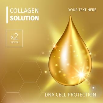 Esencia suprema de gota de aceite de colágeno. gota de suero brillante premium. ilustración de solución cosmética