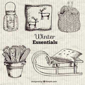 Esenciales de invierno en estilo dibujado a mano