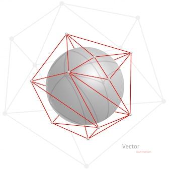 Esfera abstracta gris en una cuadrícula poligonal roja sobre un fondo blanco