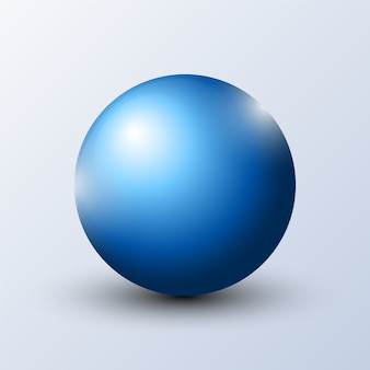 Esfera azul realista con sombra
